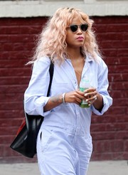 Eve stepped out in New York City wearing a pair of modernized cateye sunnies.