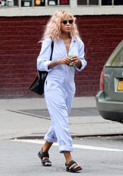 Eve kept it super relaxed in a pale-blue jumpsuit while out in New York City.