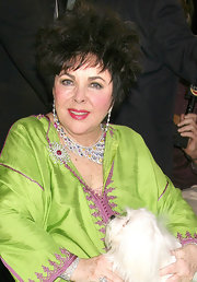 Elizabeth Taylor looked dazzling with her luxurious collar necklace and dangling earrings.