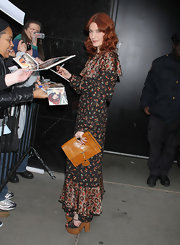 Florence Welch was bohemian chic at 'Good Morning America' in NYC. The songstress opted for lace-up sandals complete with cork platform detailing.