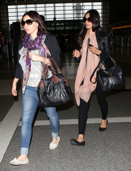 Freida Pinto Patterned Scarf
