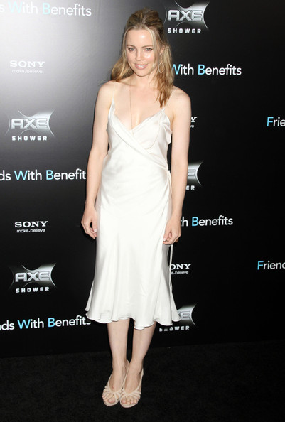 Melissa George embraced her porcelain skin at the premiere of 'Friends With Benefit' in an ivory silk slip dress and flesh-toned cutout peep-toes.