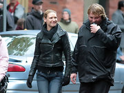 Anna Torv looked right at home in this black leather motorcycle jacket.