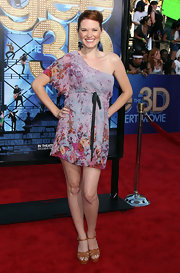 Sarah Drew was blooming at the 'Glee' movie concert premiere in a one-shoulder floral frock.