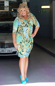 Gemma Collins made a great day outfit matching her wrap-dress with green suede platforms at the ITV Studios.