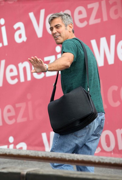 George Clooney Leather Messenger Bag