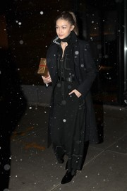 Gigi Hadid geared up for cold weather with a black wool coat.