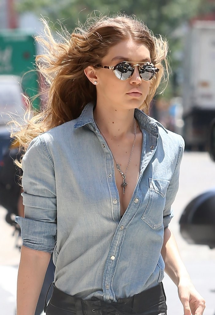 gigi hadid round sunglasses newest looks stylebistro
