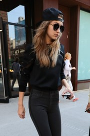 Gigi Hadid was tomboy-chic in a baseball cap and aviator shades while out in New York City.