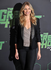 Cameron rocks a sleek blazer with leather lapels to 'The Green Hornet' photo call.