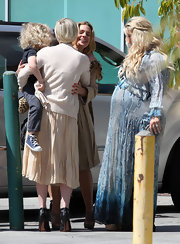 Jessica Simpson was lovely in this blue snakeskin maxi for her bridal shower.