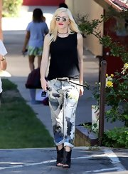 Gwen wore a pair of abstract printed boyfriend jeans while out in LA.