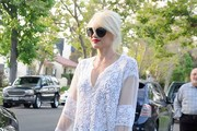Gwen Stefani Dons a Sheer Tunic for Easter
