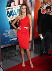 Vanessa is saucy in a red one-shoulder cocktail dress for the premiere of 'Hall Pass.'