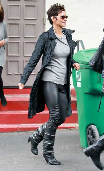Halle Berry Leather Coat