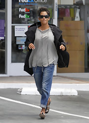Halle kept warm in Hollywood by tossing on this classic black wool coat.