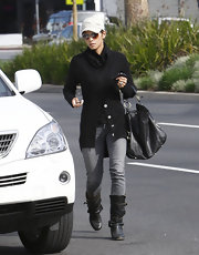 Halle Berry stepped out in basic buckled black boots with her gray jeans.