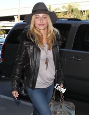 We just added Hayden's cozy leather bomber to our must have list!