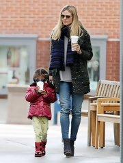 Heidi Klum's casual skinny jeans were easy, carefree and totally appropriate for a day spent with her daughter.