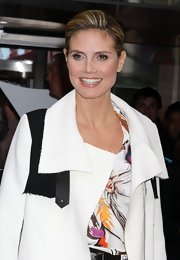 Heidi Klum wore a shiny rosy beige lipstick while promoting her fragrance in NYC.