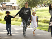 Heidi Klum carried everything in a slouchy black leather shoulder bag during an outing with her kids.