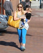 Hilary Duff opted for a sporty look with these blue leggings while out with son Luca in Beverly Hills.