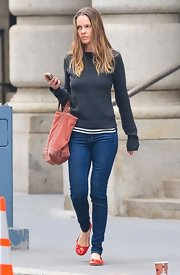 Hilary Swank's skinny jeans gave the actress a cool and comfy look while out in NYC.