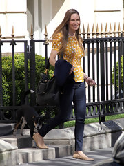 Hilary Swank spent the day shopping in Paris wearing a pair or casual beige leather flats.