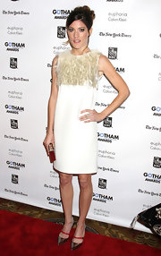 Jennifer Carpenter stepped out at the Gotham Independent Film Awards in a white shift dress with a feathered bodice.