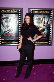 Megan Gale's multi-buckled black mid-calf boots were an edgy-chic finish to her casual ensemble at the Melbourne premiere of 'Inception.'