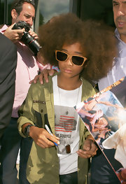Jaden Smith rocked a pair of wood-rimmed wayfarers while promoting 'Karate Kid' in Berlin.