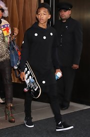 Jaden Smith sported a black tee with white circular dots while out in NYC.