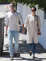 Kyle Newman looked cool and casual in a cream crewneck while out in Hollywood.
