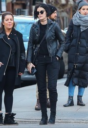 Jaimie Alexander completed her all-black outfit with a pair of skinny pants.