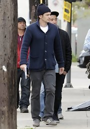 James Franco opted for a casual navy shawl-collar cardigan for his look while on set in LA.