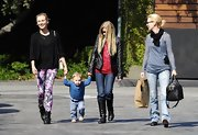 Diane Kruger showed her playful side while taking a walk with January Jones and her son Xander with purple floral pants.