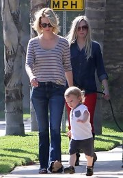 January Jones rocked a long-sleeve gray striped tee while out with her son Xander.