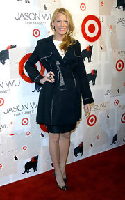 Blake Lively showed support for Jason Wu at the private launch of his Target collection in a black lace-trimmed trench.