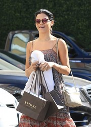 Jenna Dewan-Tatum stopped by Epione sporting a taupe Celine Trio bag.