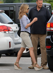 Jennifer Aniston's Pedro Garcia wedges were the perfect summer shoe with their light neutral color, and on-trend wedge.
