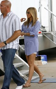 "Jennifer is a fan of the ""boyfriend look,"" meaning she's often spotted in oversized shirts and boyish footwear."