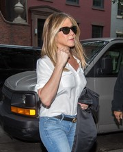 Jennifer Aniston was spotted out in New York City wearing a pair of Tom Ford wayfarer sunglasses.