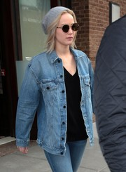Jennifer Lawrence was hippie-chic in her Sunday Somewhere round sunnies while out in New York City.