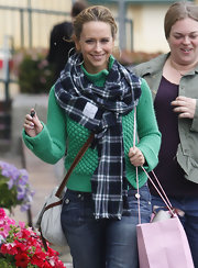 Jennifer Love Hewitt wore this blue plaid scarf while out shopping in Hollywood.