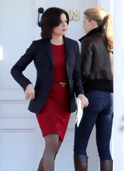 Lana Parrilla layered a black blazer over a red sheath for a subdued yet stylish finish.