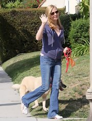 Jennifer Westfeldt sported classic flare jeans while out walking her dog in California.