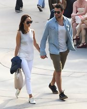 Jesse Metcalfe paired this denim button down over a plain white tee for a cool and casual look while out with Cara Santana.