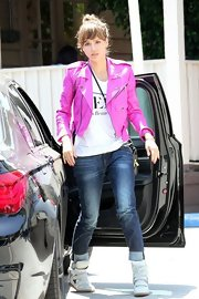 Jessica Alba rocked a funky pink leather jacket while out in LA.