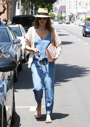 Jessica Alba looked cute and relaxed in her Splendid chambray jumpsuit while visiting a salon in LA.