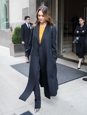 Jessica Alba stepped out in New York City wearing a perfectly tailored navy coat.